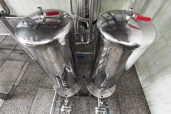 Los dos tanques de acero del cromo Imagen de archivo libre de regalías