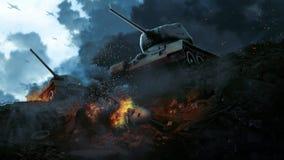Los dos tanques de batalla en los restos del avión tragado Foto de archivo libre de regalías