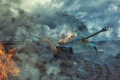 Los dos tanques en el campo de batalla Foto de archivo libre de regalías