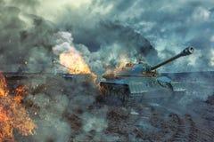 Los dos tanques en el campo de batalla Fotografía de archivo