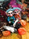 Los duendes en el bosque, setas, otoño Fotografía de archivo