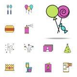 los dulces colorearon el icono Sistema universal de los iconos del cumpleaños para el web y el móvil libre illustration