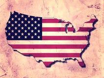 Los E.E.U.U. asocian y señalan por medio de una bandera Imagen de archivo libre de regalías