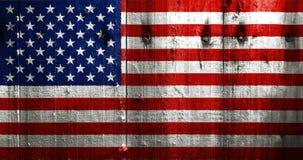 Los E.E.U.U., bandera americana pintada en tablón de madera viejo Fotografía de archivo