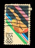 LOS E.E.U.U. - CIRCA 1984: Un sello imprimió en los E.E.U.U. del Los Ángeles Ol Fotografía de archivo libre de regalías