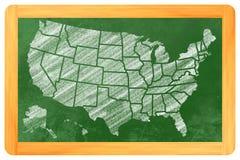 Los E.E.U.U. con los estados en una pizarra Foto de archivo