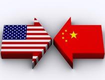 Los E.E.U.U. contra China Imágenes de archivo libres de regalías
