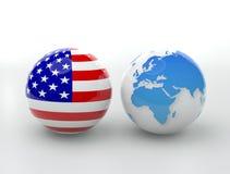 Los E.E.U.U. contra el globo Fotos de archivo libres de regalías