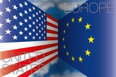 Los E.E.U.U. contra las banderas de Europa Imagen de archivo libre de regalías