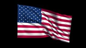 Los E.E.U.U. de colocación inconsútiles señalan agitar por medio de una bandera en viento de t Republiche, canal alfa son incluid metrajes