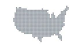Los E.E.U.U. Dot Map Concepto para el establecimiento de una red, la tecnología y las conexiones gráfico del movimiento stock de ilustración