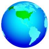 Los E.E.U.U. en el globo Foto de archivo libre de regalías