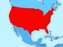 Los E.E.U.U. en el mapa 3D Fotografía de archivo libre de regalías