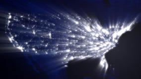 Los E.E.U.U. en la noche con Ray de las luces (lazo)