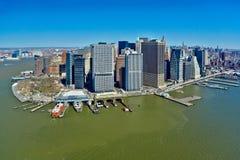 29 03 2007, los E.E.U.U., Nueva York: Vistas de Manhattan del helicopte Foto de archivo libre de regalías