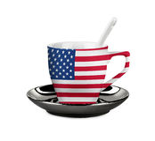 Los E.E.U.U. perfectos señalaron la taza del café por medio de una bandera o de té con la cuchara Foto de archivo libre de regalías