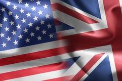 Los E.E.U.U. que un Reino Unido señala por medio de una bandera Fotos de archivo