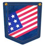 Los E.E.U.U. señalan el bolsillo de Jean por medio de una bandera azul Imagenes de archivo