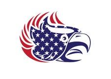 Los E.E.U.U. señalan el logotipo patriótico de Eagle Bald Hawk Head Vector por medio de una bandera Fotos de archivo