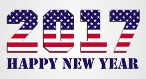 Los E.E.U.U. señalan 2016 Felices Año Nuevo por medio de una bandera Foto de archivo libre de regalías