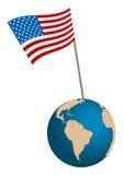 Los E.E.U.U. señalan por medio de una bandera con el globo libre illustration