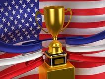 Los E.E.U.U. señalan por medio de una bandera con la taza del oro Foto de archivo libre de regalías