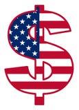 Los E.E.U.U. señalan por medio de una bandera dentro de símbolo del dólar Fotos de archivo libres de regalías