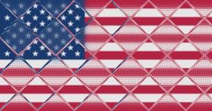 Los E.E.U.U. señalan por medio de una bandera detrás de una cerca de cristal Imagen de archivo