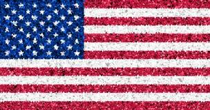 Los E.E.U.U. señalan por medio de una bandera en el brillo de triángulos multi Imágenes de archivo libres de regalías