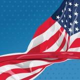 Los E.E.U.U. señalan por medio de una bandera en el viento Fotografía de archivo