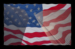 Los E.E.U.U. señalan por medio de una bandera en el World Trade Center Fotografía de archivo