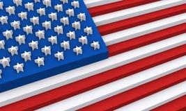 Los E.E.U.U. señalan por medio de una bandera en las dimensiones de una variable 3d Fotografía de archivo libre de regalías