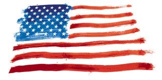 Los E.E.U.U. señalan por medio de una bandera pintado Stock de ilustración