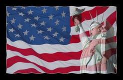 Los E.E.U.U. señalan por medio de una bandera y estatua de la libertad Imagen de archivo