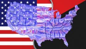 Los E.E.U.U. señalan por medio de una bandera y una bandera de Antifa con un mapa Imagen de archivo libre de regalías