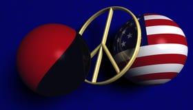 Los E.E.U.U. señalan por medio de una bandera y una bandera de Antifa con un signo de la paz Imagen de archivo