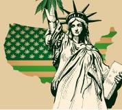 Los E.E.U.U. trazan mientras que hojea la bandera verde con el cáñamo Estatua de la imagen del vector de Librety
