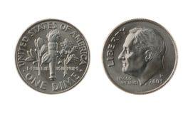 Los E.E.U.U. una moneda de la moneda de diez centavos aislada en blanco Foto de archivo