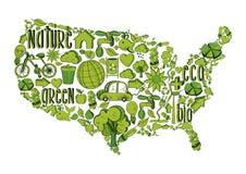 Los E.E.U.U. verdes con los iconos ambientales Foto de archivo libre de regalías