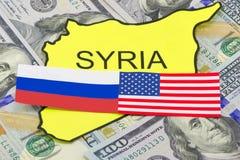 Los E.E.U.U. y adversarios rusos sirios Imagen de archivo libre de regalías