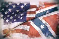 Los E.E.U.U. y bandera confederada ilustración del vector