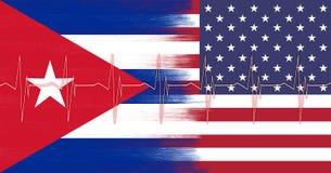 Los E.E.U.U. y bandera de Cuba con el modelo del pulso del corazón Foto de archivo libre de regalías
