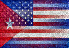 Los E.E.U.U. y bandera de Cuba mezclada Foto de archivo libre de regalías