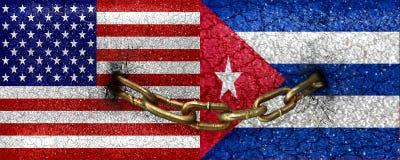 Los E.E.U.U. y bandera de Cuba unida Imagen de archivo libre de regalías