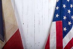 Los E.E.U.U. y bandera de Francia Imágenes de archivo libres de regalías