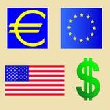 Los E.E.U.U. y bandera euro Imagen de archivo