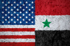 Los E.E.U.U. y banderas de Siria Fotografía de archivo
