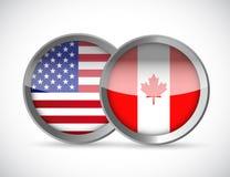 los E.E.U.U. y diseño del ejemplo de los sellos de la unión de Canadá ilustración del vector