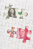 Los E.E.U.U. y moneda china Fotografía de archivo libre de regalías