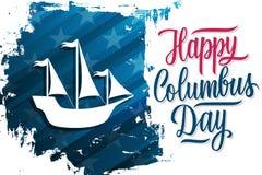 Los E.E.U.U. Columbus Day celebran la bandera con Columbus Ship en el texto Columbus Day feliz de las letras del fondo y de la ma libre illustration